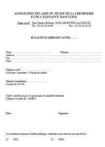 bulletin d'adhésion à l'association des amis du Musée