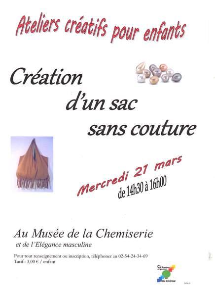 Mercredi 21 mars, atelier créatif «Création d'un sac sans couture»