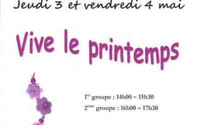 Jeudi 3 et vendredi 4 mai, atelier des vacances «Vive le printemps»