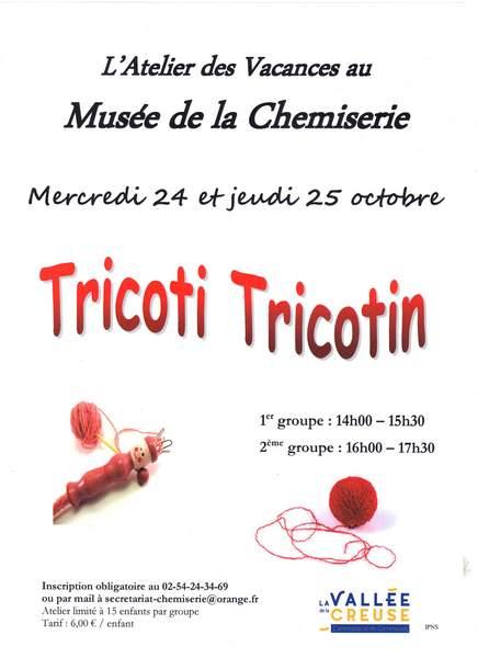 Mercredi 24 et jeudi 25 octobre, atelier des vacances «Tricoti Tricotin»