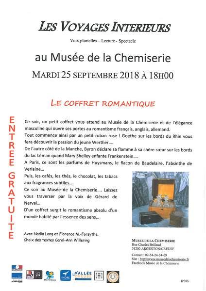 Mardi 25 septembre à 18h00, lecture-spectacle avec Les Voyages Intérieurs