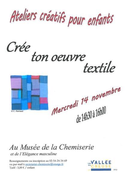 Mercredi 14 novembre, atelier créatif «Crée ton œuvre textile»