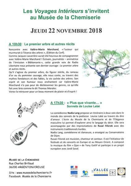 Jeudi 22 novembre, les Voyages Intérieurs s'invitent au musée