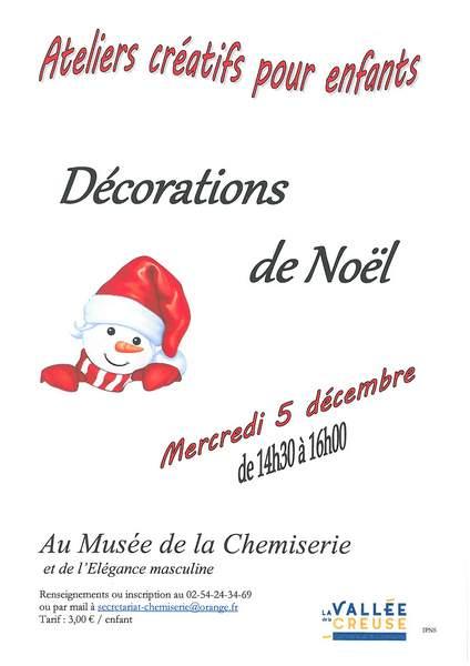 Mercredi 5 décembre, atelier créatif «Décorations de Noël»