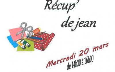 Mercredi 20 mars, atelier créatif «Récup' de jean»
