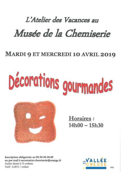 Mardi 9 et mercredi 10 avril, Atelier des Vacances «Décorations gourmandes»