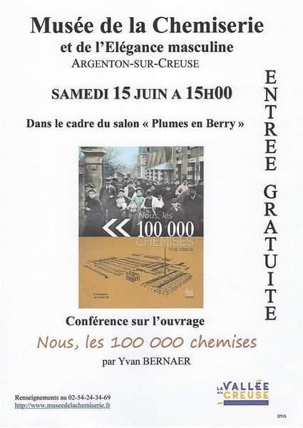 Samedi 15 juin à 15h00, conférence sur l'ouvrage «Nous, les 100 000 chemises» par Yvan Bernaer