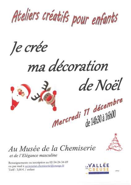 Mercredi 11 décembre, atelier créatif «Je crée ma décoration de Noël»