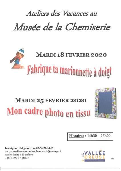 Ateliers de vacances mardi 18 et mardi 25 février 2020 de 14h30 à 16h00